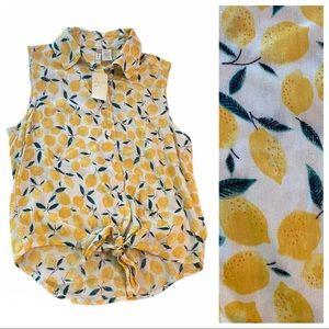 NWT Japna Lemon Print Tie Front Top